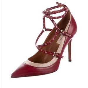 Valentino Red Love Latch Leather Grommet Pumps